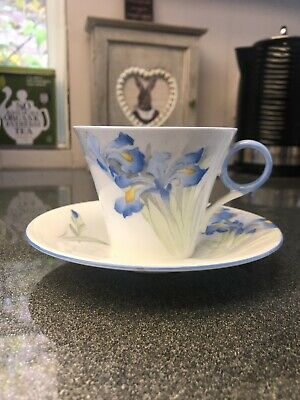 Shelley Cup And Saucer Blue Iris • 30£
