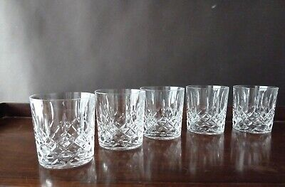 5 Cut Crystal Whisky Glasses Tumblers, Not Signed Edinburgh Crystal?, H8,7cm • 49£