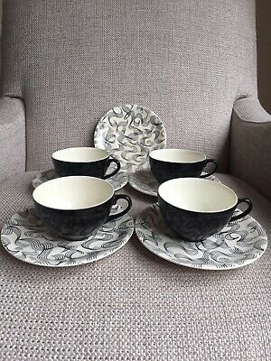Vintage Mid Century Meakin Swirl Cups And Saucers X 4 Black White • 13.99£