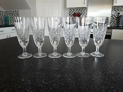 6 X Thomas Webb Lead Crystal Champagne Flutes Wellington Signed 6.5  High • 160£