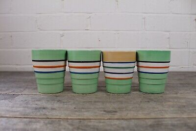 Four Vintage Swinnertons Multi Couriered Banded Beaker Cups. • 24.99£