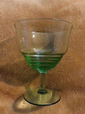 Vintage Deco Stepped Green Cocktail Glass  • 10£
