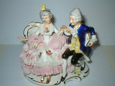 Dresden Lace Group Figure Seated Couple Lady & Gentleman Figurine  • 54.99£