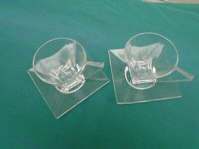 Art Deco ? Clear Glass Cup And Saucer X2 VGC • 16£