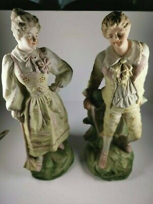 A Pair Of Romantic Bisque Figurines 31cm High • 15£