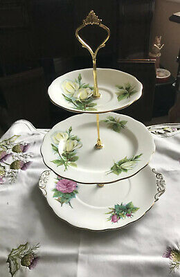Vintage Royal Standard  Harry Wheatcroft Mixed Roses 3 Tier Cake Stand • 21.99£