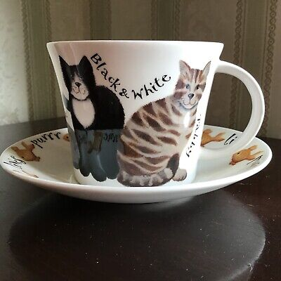Roy Kirkham Whiskers China Cup & Saucer Cats • 12.99£