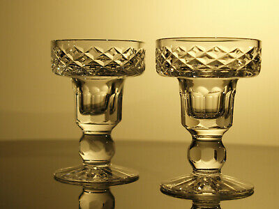 Tyrone Crystal Candle Holder Pair Vintage Mint Made In Ireland • 28£