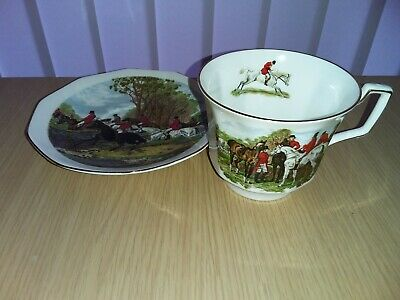 Queen's Rosina Bone China  Hunting Scene  Breakfast Cup & Saucer, Multiples  VGG • 12£