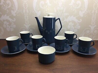 Vintage Beswick Coffee Set Petrol Blue & White Coffee Cups Saucers Pot Sugar • 39.99£