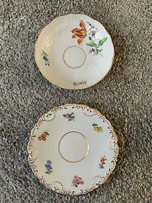 Two X Saucers Meissen Dresden Porcelain - Hand Painted Flower Decorated • 10£