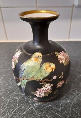 Gibson And Sons Burslem England Black Flowers Birds Decorated VASE ART WARE  • 25£
