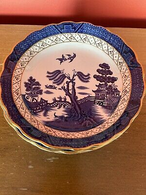 """6 Vintage Booths Real Old Willow A8025 7.25"""" Soup/Dessert Bowls (Good Condition) • 14.99£"""
