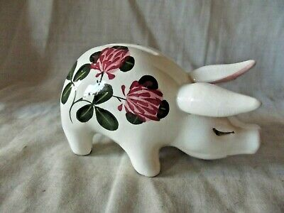 Vintage & Rare Wemyss Bovey Plichta Money Box Pig With Flowering Clover • 75£