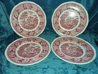 Adams  English Scenic  Pink - 4x 10.25 Inch Dinner Plates - VGC • 27£