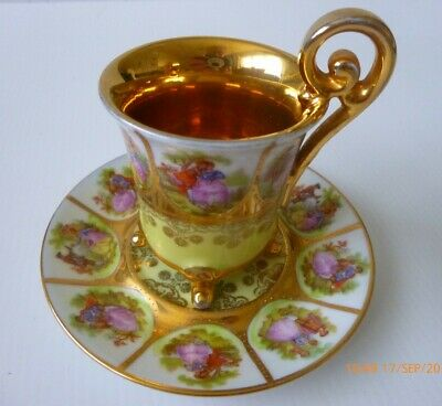 Vintage Cup Saucer Love Story Cabinet Style JKW Carlsbad • 8£
