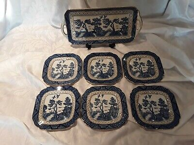 Ye Old Chinese Willow Sandwich Plate And Tea Plates X 6. Wilton Ware • 15£