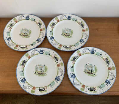 Wood & Sons 4 Holly Cottage 10 Inch Dinner Plates. • 0.99£