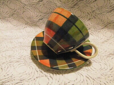 The Tain Pottery ( Scotland ) Tartan Pattern Cup With Saucer • 14.90£