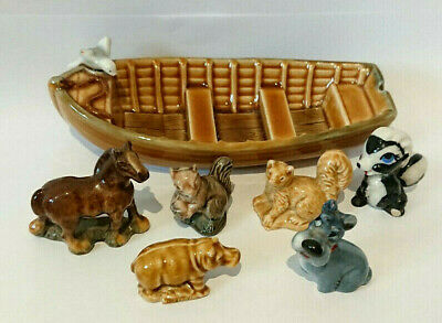 WADE 6 X 1950s-70s Whimsies + Boat JOCK, FLOWER, HORSE, SQUIRREL, HIPPO Etc A/F • 1.20£