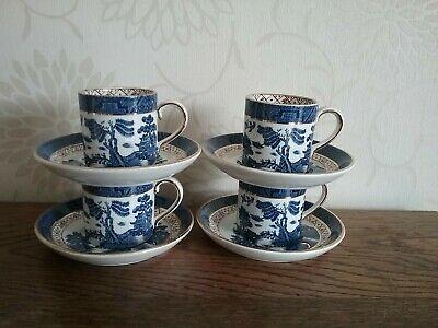 Booths Real Old Willow  A8025 Set Of 4 Espresso Coffee Cans & Saucers  VGC • 48£