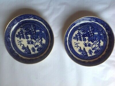 Antique TWO Minton Willow Pattern Blue & White Coasters / Pin Dishes 19th Cent. • 20£