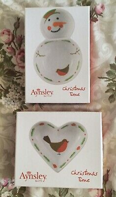 Aynsley Christmas Time Robin Heart Dish And Snowman Dipping Bowl • 14£