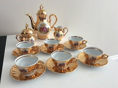 LATE 1950s BAVARIA PORCELAIN / CHINA GOLD GILLTED COFFEE SET, NEVER BEEN USED. • 13.50£