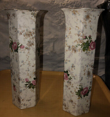 A Vintage Pair Of Matching Crown Ducal Tall Vases. Floral Design.  • 3£