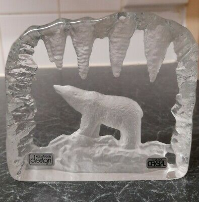 Vintage Signed Tyko Axelsson Crystal Polar Bear Paperweight  • 30£
