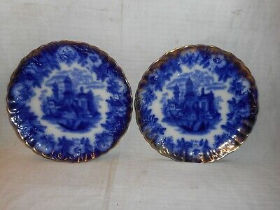 Pair Of Vintage Flow Blue Blue & White Plates • 20£