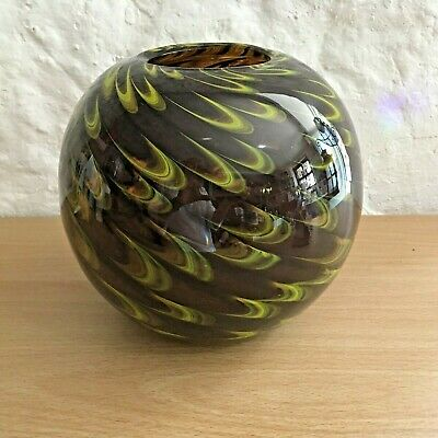 Brown And Green Swirl Glass Ball Shape Vase • 20£