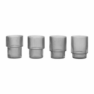 NEW Ferm Living Ripple Small Glasses (Set Of 4) In Smoked Grey • 17.50£