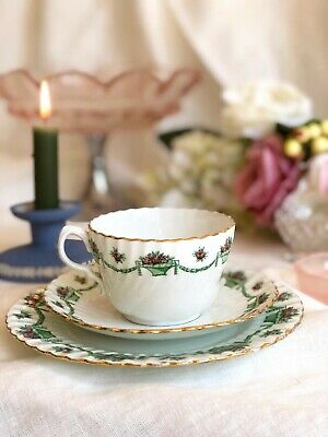 Antique TEA CUP Saucer & Cake Plate TRIO By FENTON England, C.1908 Roses Swags • 16£