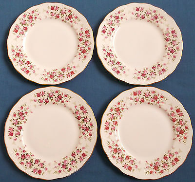 Four Vintage Queen Anne Ditsy Pink Cascade Roses China Plates Gilded Tableware • 14.99£