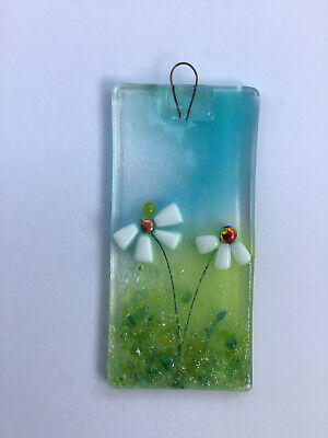Fused Glass  FLOWERS Suncatcher/hanging Decoration  MADE IN THE UK • 6£