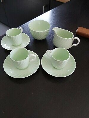 Vintage Minton Shell Green Ribbed Flat 3 Demitasse Coffee Cups, Saucers, Etc • 5.99£