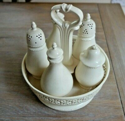 Leedsware Classic Creamware Condiment Set -  Mint Unused, Owned From New • 32.50£