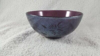 Amethyst Lustre Glass Bowl With Etched Floral Motif. 13.5 Cm Diam, 6 Cm High. • 14.95£
