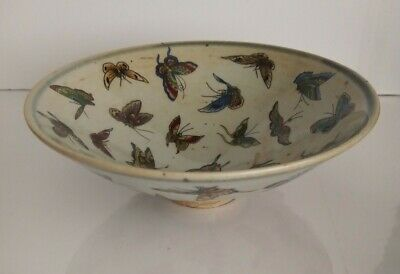 Vintage Oriental Butterfly Decoration Bowl - Red Back Stamp Chinese? Asian? • 19.95£