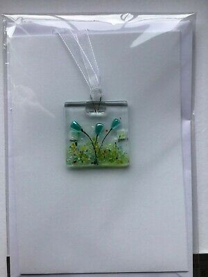 Fused Glass AQUA FLOWERS CARD Suncatcher/hanging Decoration  MADE IN THE UK • 3£