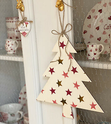 Emma Bridgewater Wooded Hanging Christmas Tree - Pink And Gold Stars • 9£