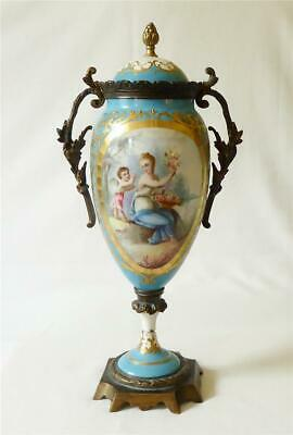 Good Sized Antique Mid 19th C French Sevres Ormolu Mounted Porcelain Vase • 22£