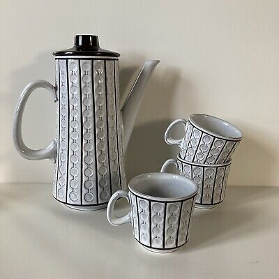 Ceramano West German Pottery Coffee Pot & Set Of 3 Cups Mid Century White Omega • 28.99£