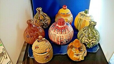 A)Vintage Pottery Face Pots Collection Of 8 • 35£