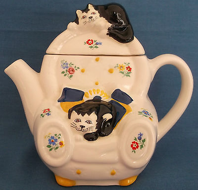 Vintage Wade Cats Armchair Ditzy Floral Feline Collection Teapot Judith Wootton • 14.99£