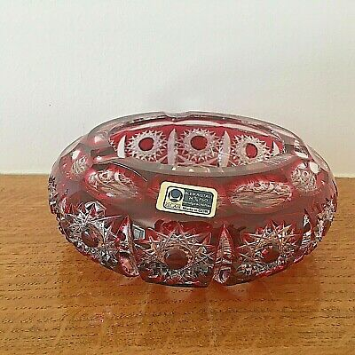 Bleikristall Crystal Cranberry & Clear Glass Ashtray • 20£