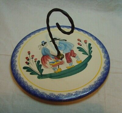Vintage French Pornichet Faience Pottery Cake Stand Plate Hand Painted • 29.99£
