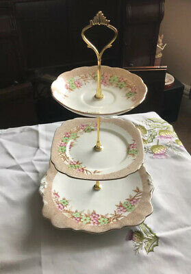 Vintage Bell Fine Bone China 3 Tier Stand Floral • 14.99£