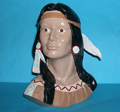 Studio Art Pottery Large Attractive Decorative Bust Of An American Indian Woman. • 35£